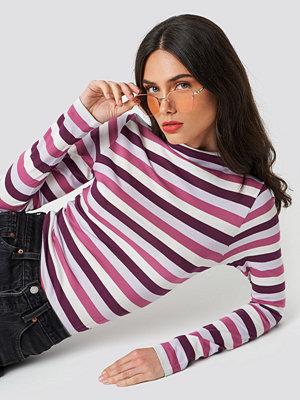 NA-KD Striped LS Top rosa multicolor