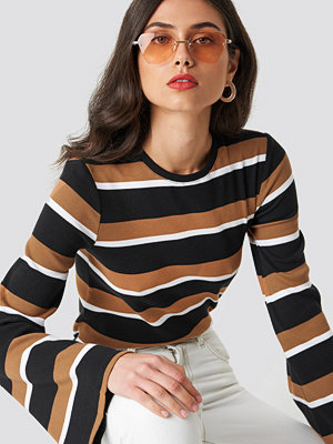 NA-KD Wide Sleeve Striped Top multicolor