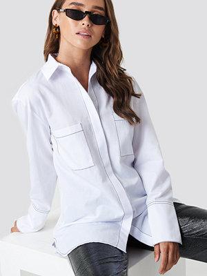 NA-KD Trend Contrast Seam Detail Shirt vit
