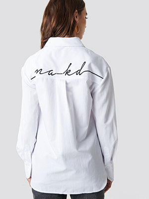 NA-KD Oversized Logo Embroidery Shirt