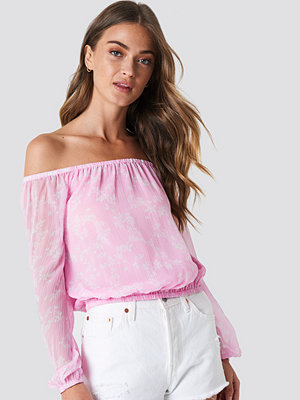 NA-KD Boho Chiffon Off Shoulder Blouse rosa