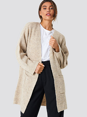 NA-KD Front Pocket Knitted Cardigan beige