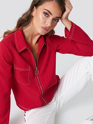 NA-KD Trend Contrast Seam Front Zipper Top