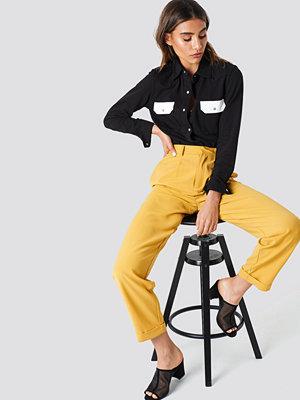 NA-KD Trend gula byxor High Waist Wide Leg Pants gul