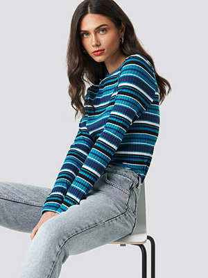 NA-KD Round Neck Striped Top blå
