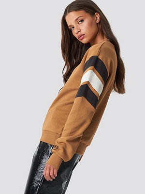 NA-KD Blocked Bicep Sweatshirt beige