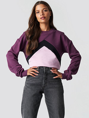 NA-KD Blocked Chest Sweatshirt lila