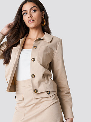 NA-KD Trend Cropped Cotton Blend Jacket beige