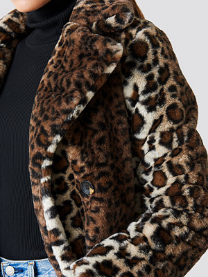 NA-KD Trend Faux Fur Leo Coat multicolor