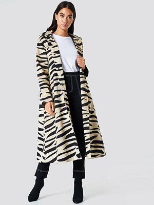 NA-KD Hooded Zebra Parkas beige