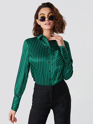 Emilie Briting x NA-KD Pinstripe Satin Pocket Shirt