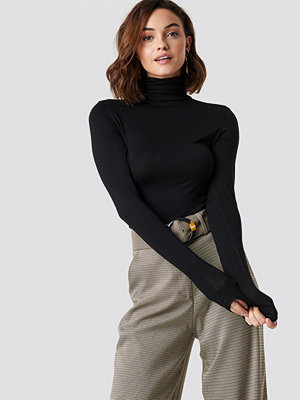 NA-KD Basic Viscose Long Sleeve Polo Top svart