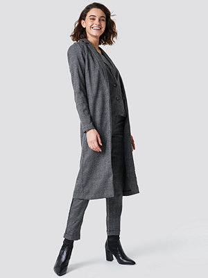 Rut & Circle Dark Check Long Jacket grå