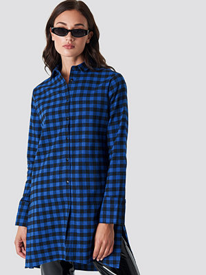 Rut & Circle Check Long Shirt blå