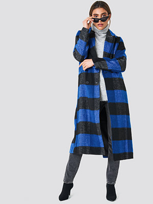 NA-KD Double Breasted Checked Coat blå