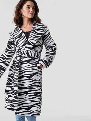 NA-KD Trend Zebra Denim Trenchcoat - Jeansjackor