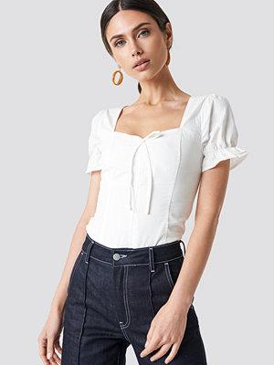 T-shirts - NA-KD Boho Puffy Shoulder Corset Top