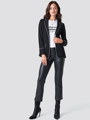 Rut & Circle Straight Pu Pant - Skinn och mockabyxor svarta