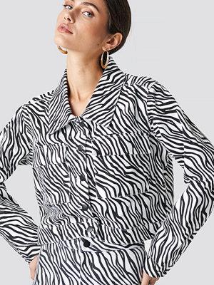 NA-KD Zebra Denim Jacket svart vit