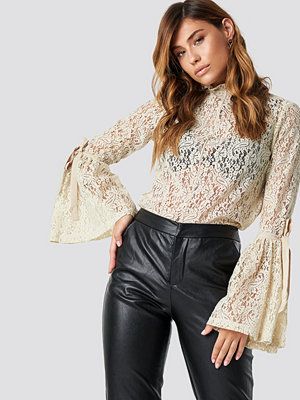 NA-KD Boho Wide Sleeve Lace Top beige