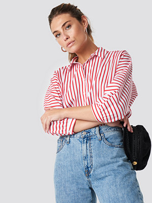 Trendyol Striped Quarter Sleeve Shirt röd multicolor