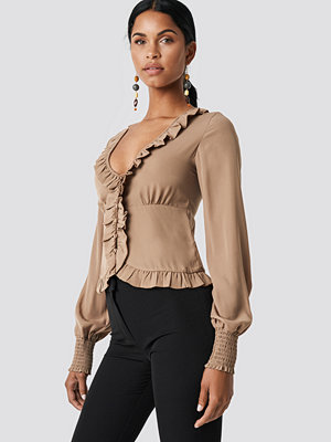 NA-KD Boho Frill Detail Buttoned Blouse - Blusar