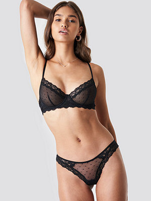 NA-KD Lingerie Lace Edge Dotted Brief svart