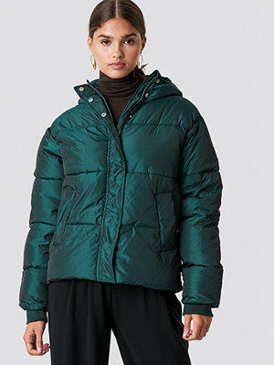 NA-KD Shiny Padded Jacket grön