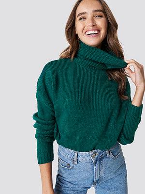 NA-KD Folded Oversize Short Knitted Sweater grön