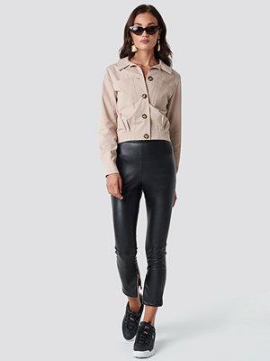 NA-KD svarta byxor Zip Detail PU Pants svart