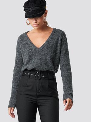 NA-KD Trend Alpaca Wool Blend V-neck Sweater grå