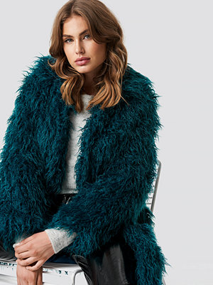 NA-KD Faux Fur Long Jacket grön