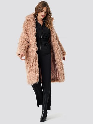 NA-KD Faux Fur Long Jacket rosa