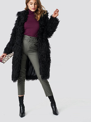 NA-KD Faux Fur Long Jacket svart