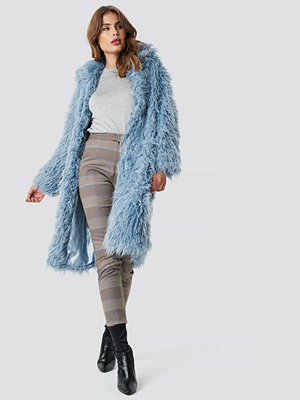 NA-KD Faux Fur Long Jacket blå
