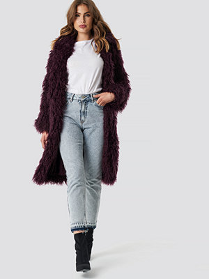 NA-KD Faux Fur Long Jacket lila