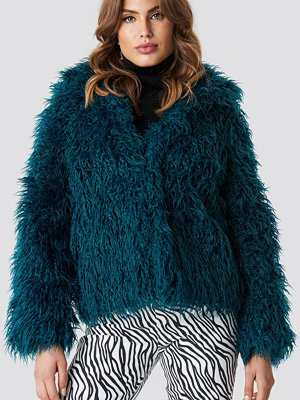 NA-KD Faux Fur Short Jacket grön