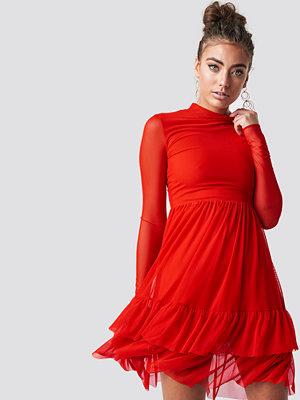 Luisa Lion x NA-KD Mesh Frill Dress - Midiklänningar
