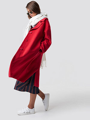 Hannalicious x NA-KD Oversized Wool Blend Coat röd