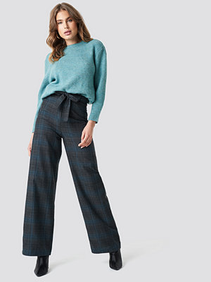 Trendyol rutiga byxor Checkered Wide Pants grå