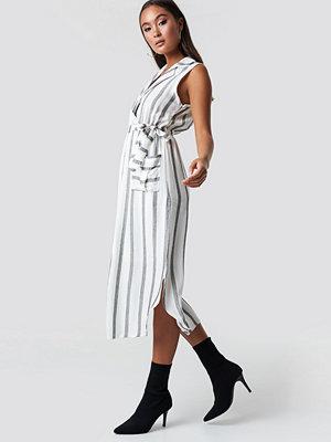 Trendyol Striped Slit Midi Dress vit