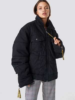 Cheap Monday Puffer Trucker Black Tape - Jackor