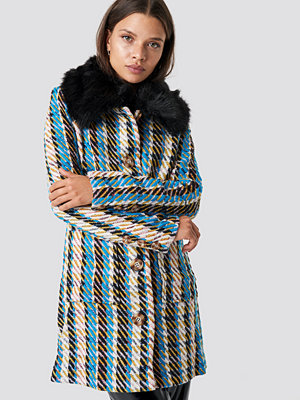 Glamorous Fluffy Collar Coat multicolor