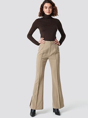 NA-KD Classic omönstrade byxor Seamline Suit Pants beige