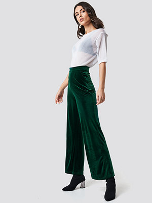 Rut & Circle mörkgröna byxor Velvet Wide Pant grön