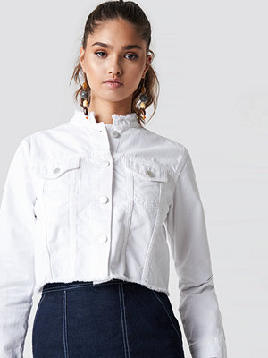 NA-KD Trend Raw Hem Short Denim Jacket - Jeansjackor