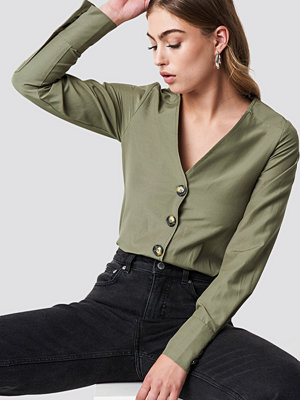 NA-KD Trend Tortoise Buttoned Blouse - Blusar
