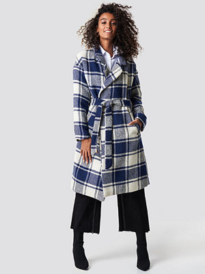 NA-KD Trend Checked Blue Coat - Kappor