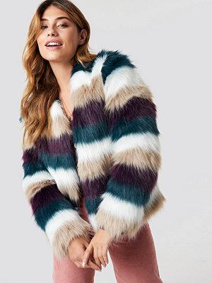Linn Ahlborg x NA-KD Striped Faux Fur Jacket multicolor