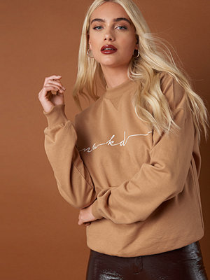 NA-KD Trend Chest Branded Sweatshirt beige